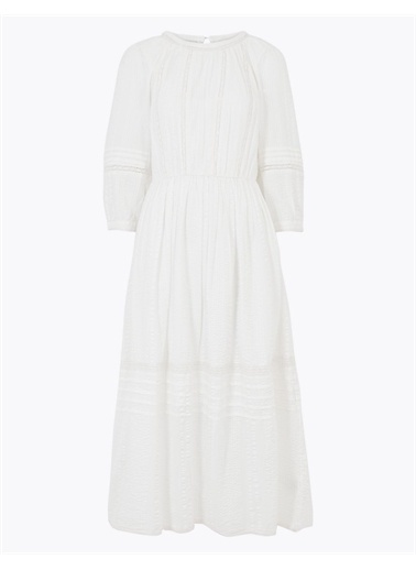 Marks & Spencer Pamuklu Dantel Detaylı Elbise Beyaz